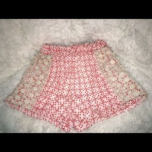 Red & white shorts with lace